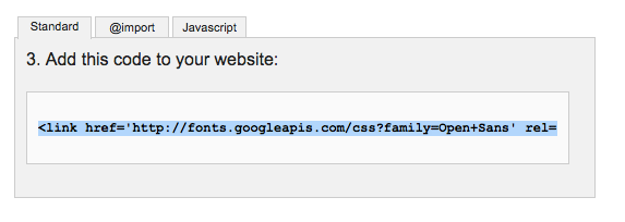 読み込み用コードを選択Google_Fonts