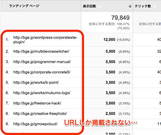 Google_AnalyticsのランディングページはURLしか掲載されない